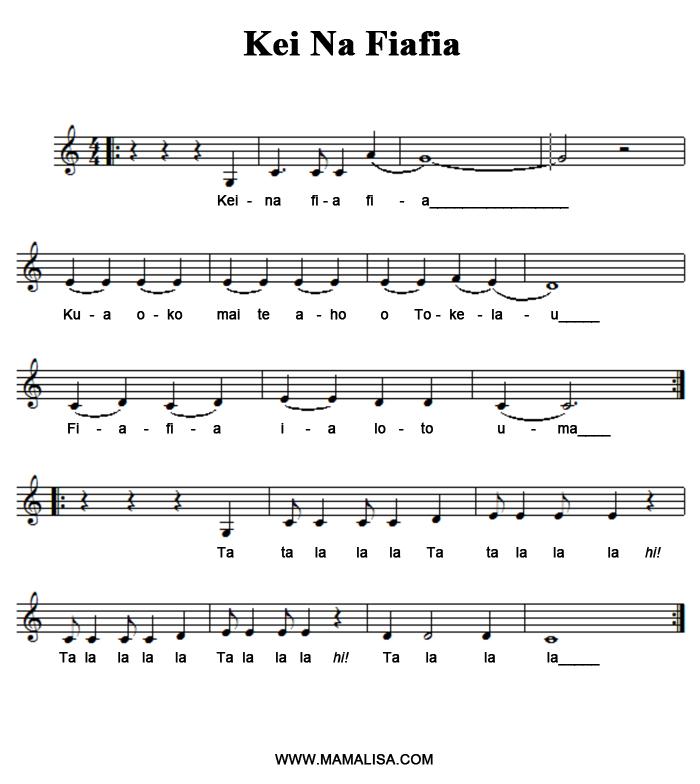 Sheet Music - Kei na fiafia