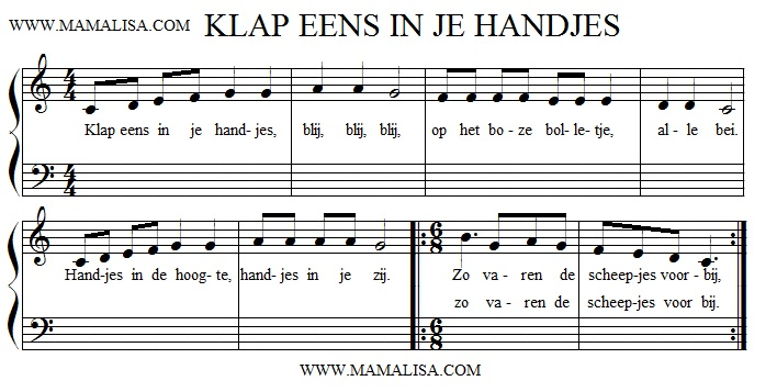 Partition musicale - Klap eens in je handjes