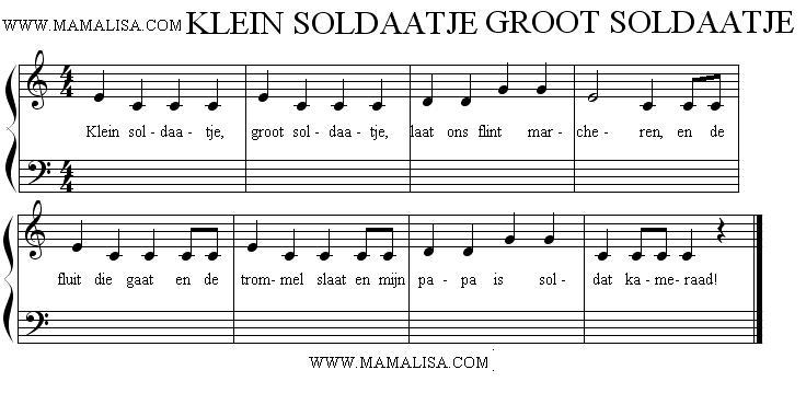 Sheet Music - Klein soldaatje, groot soldaatje