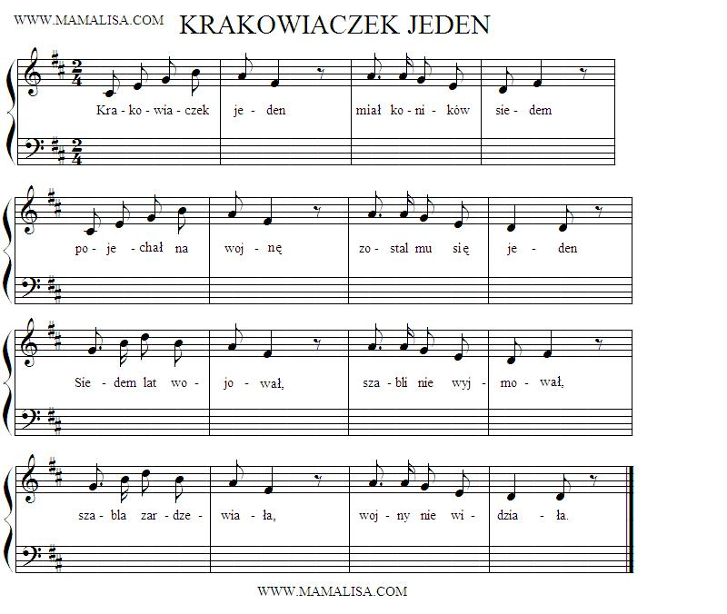 Partition musicale - Krakowiaczek jeden