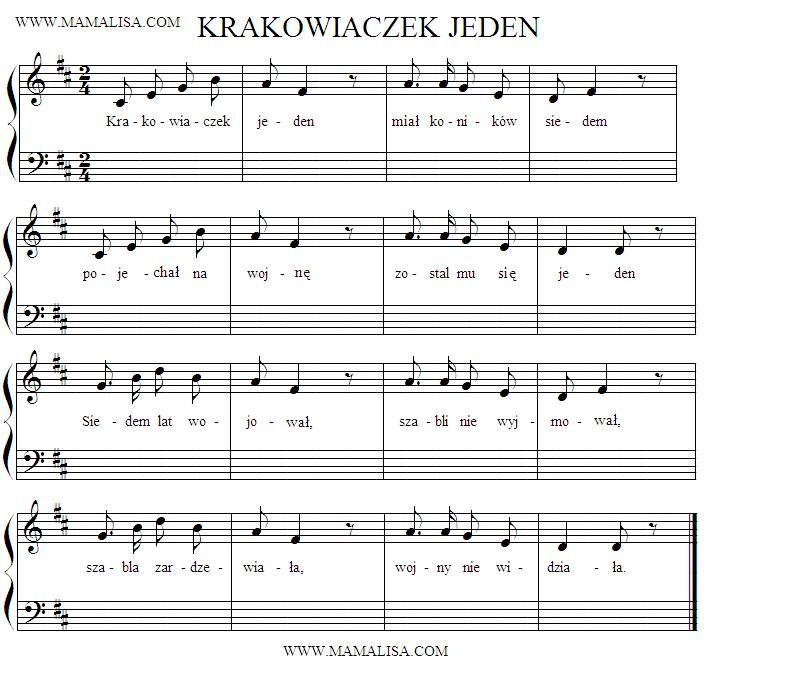 Partitura - Krakowiaczek jeden
