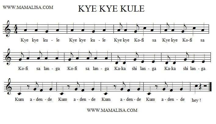 Sheet Music - Kye Kye Kule