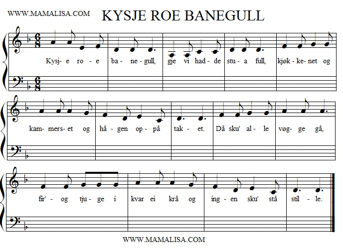 Sheet Music - Kysje, roe bane-gull