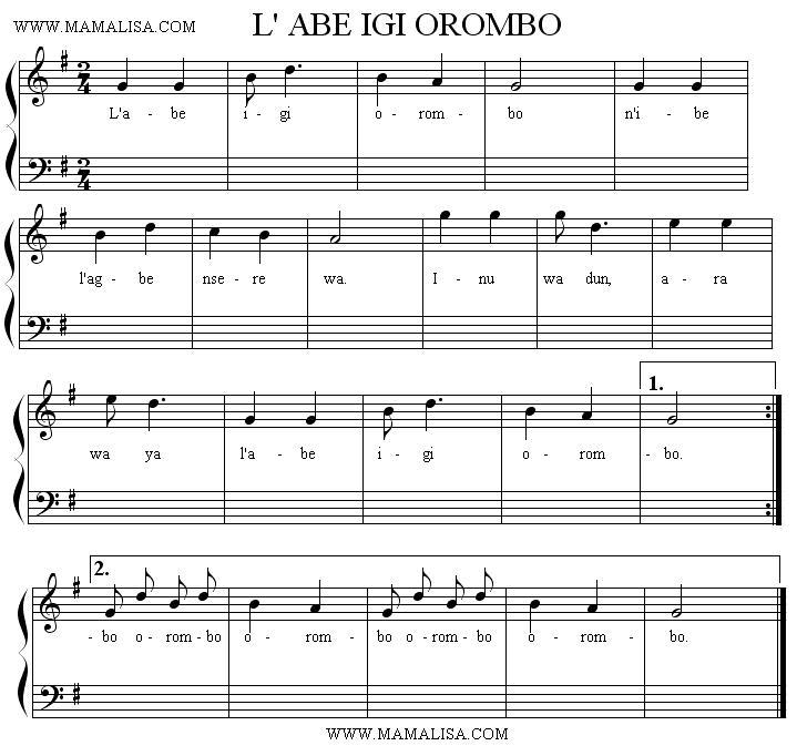 Sheet Music - L'abe igi orombo