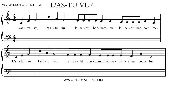 Sheet Music - L'as-tu vu ?