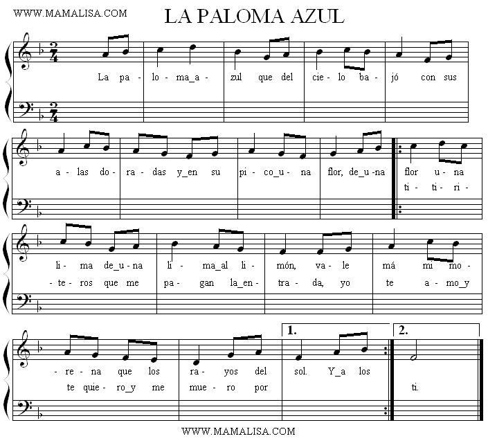 La paloma azul - Chansons enfantines mexicaines - Mexique - Mama Lisa's World en français ...