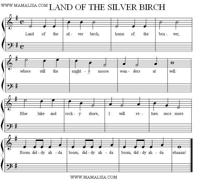 Sheet Music - Land of the Silver Birch