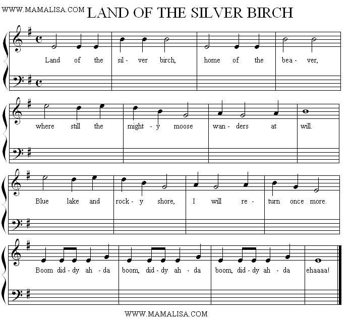 Sheet Music - Land of the Silver Birch
