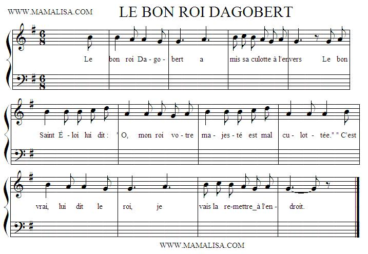 Partition musicale - Le bon roi Dagobert