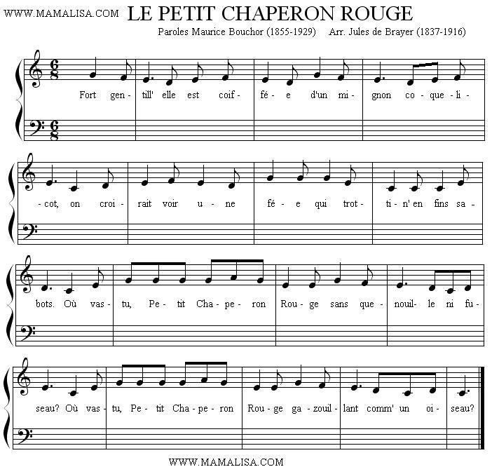 Partition musicale - Le Petit Chaperon Rouge