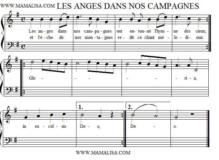 Partitura - Les anges dans nos campagnes