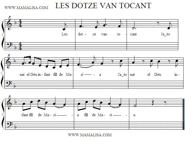 Sheet Music - Les dotze van tocant