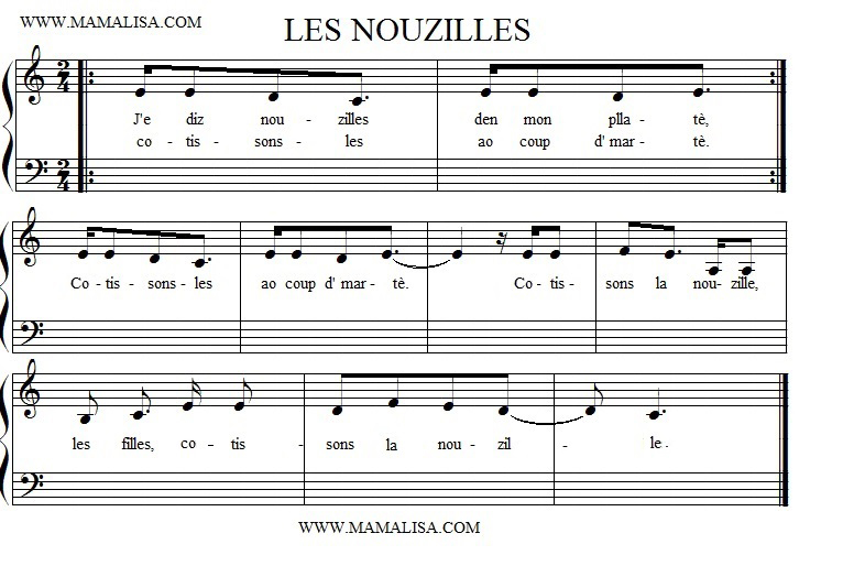 Sheet Music - Les nouzilles