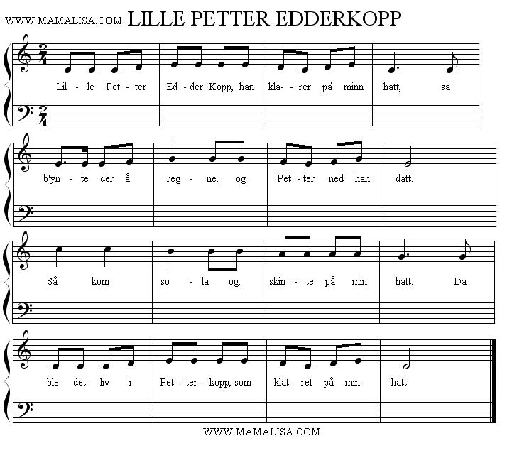 Partition musicale - Lille Petter Edderkopp