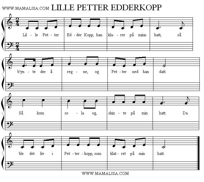 Sheet Music - Lille Petter Edderkopp