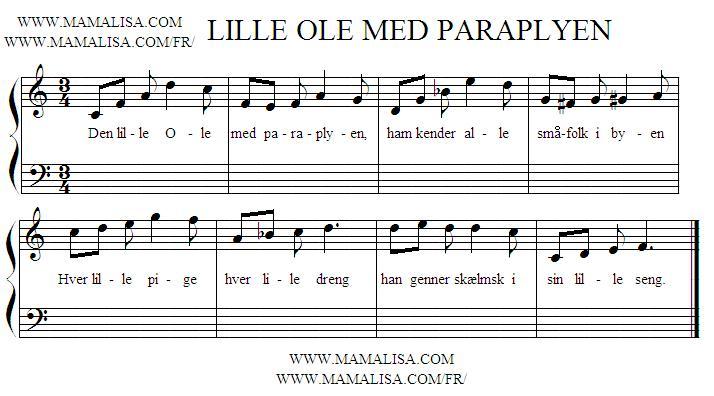 Partition musicale - Den Lille Ole med Paraplyen