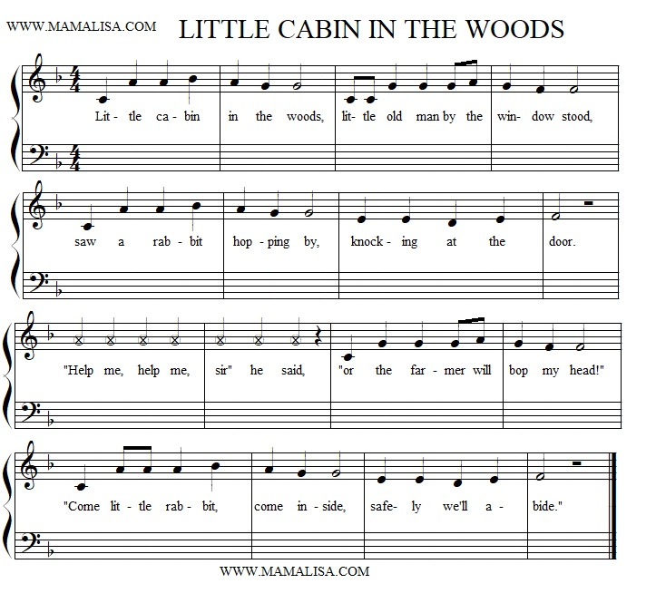 Sheet Music - In a Cabin in a Wood