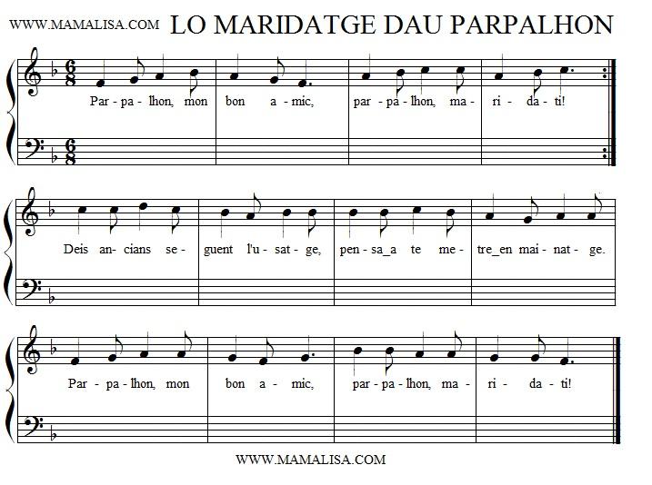 Sheet Music - Lo maridatge dau parpalhon