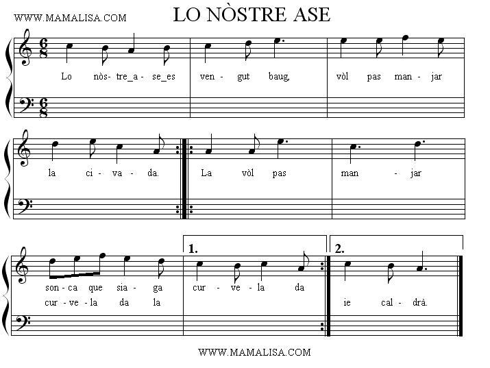 Sheet Music - Lo nòstre ase