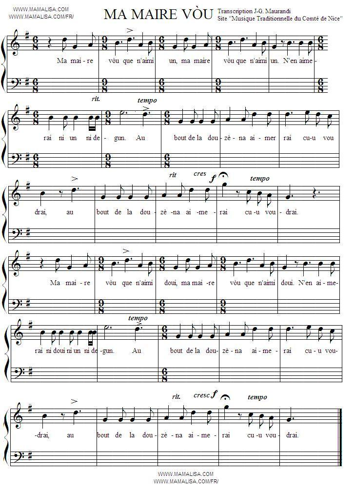 Partition musicale - Ma maire vòu