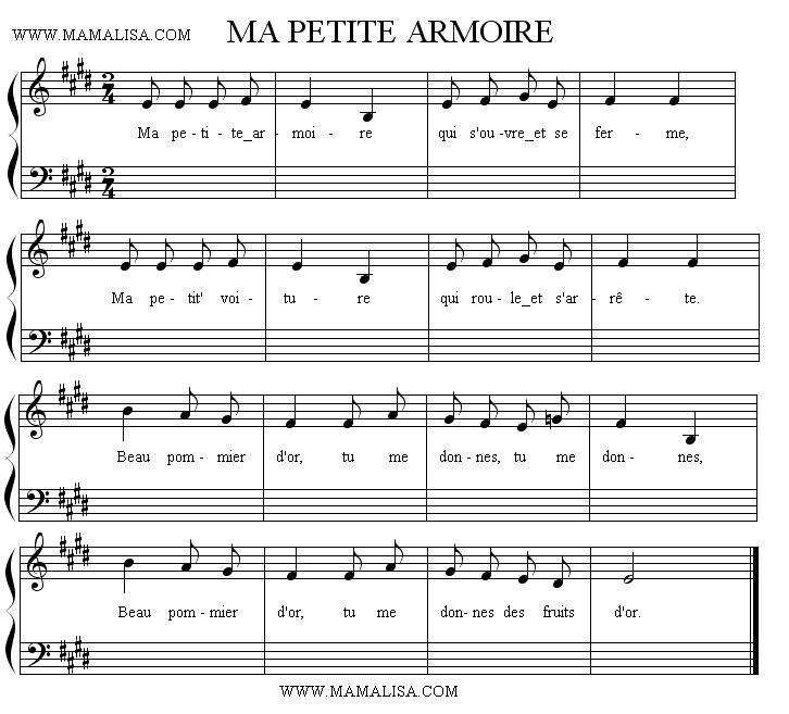 Sheet Music of Ma petite armoire - Chansons enfantines françaises - France - Mama Lisa's World en français: Comptines et chansons pour les enfants du monde entier