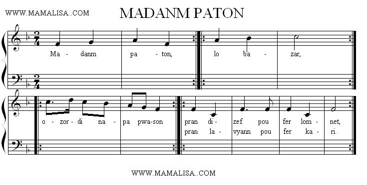 Sheet Music - Madanm Paton