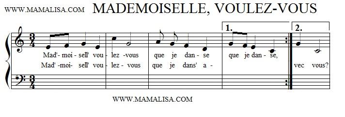 Partition musicale - Mademoiselle voulez-vous