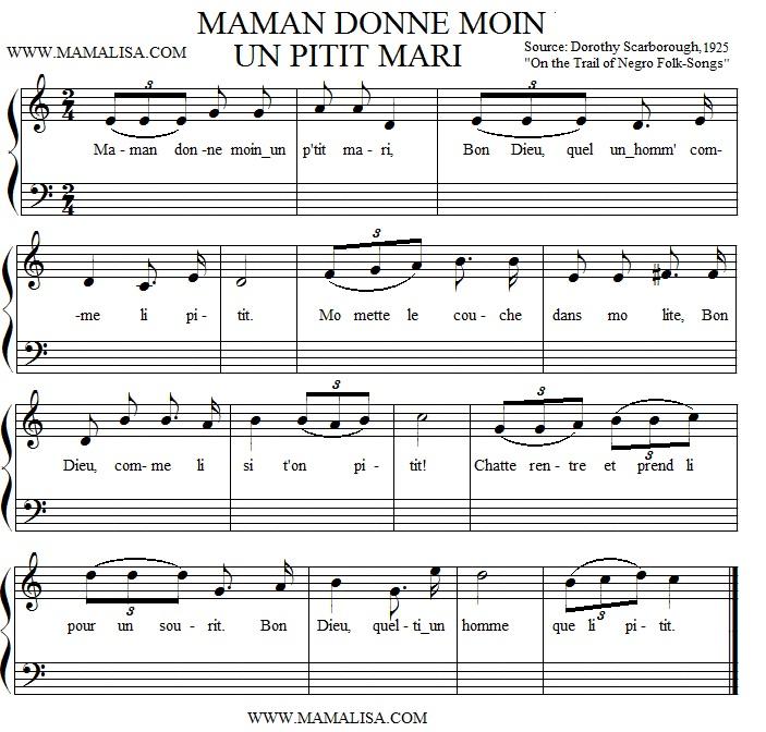 Partition musicale - Maman Donne Moin un Pitit Mari