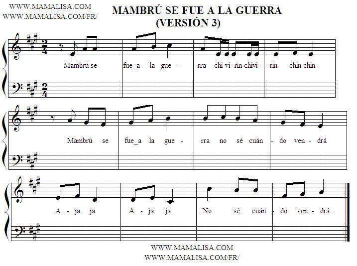 Sheet Music of Mambrú se fue a la guerra - Canciones infantiles ...