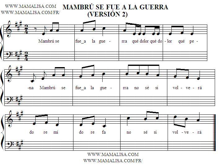 Sheet Music - Mambrú se fue a la guerra
