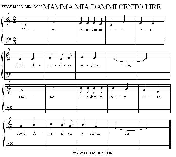 Partition musicale - Mamma mia, dammi cento lire