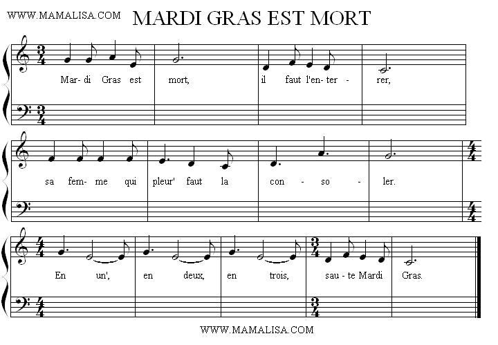 Sheet Music - Mardi Gras est mort