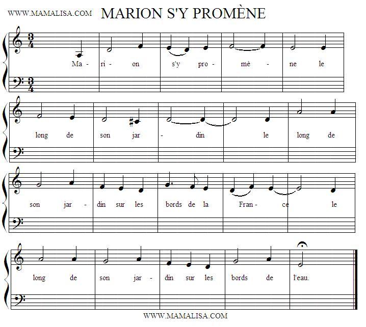 Partition musicale - Marion s'y promène