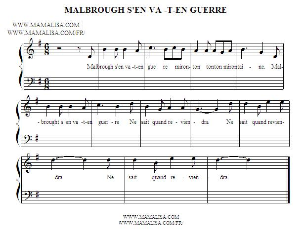 Partitura - Malbrough s'en va-t-en guerre