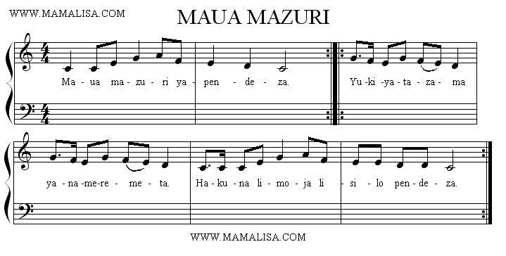 Partition musicale - Maua Mazuri