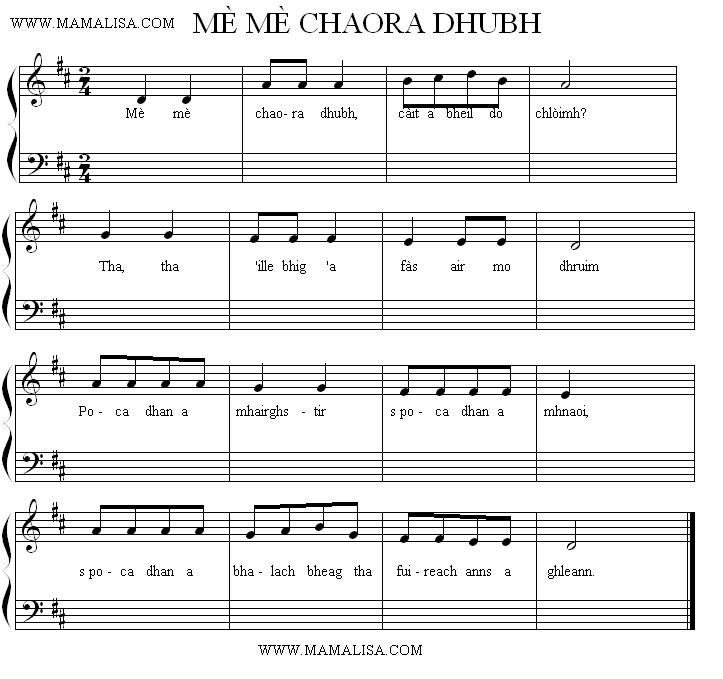 Partition musicale - Mè, mè, a chaora dhubh