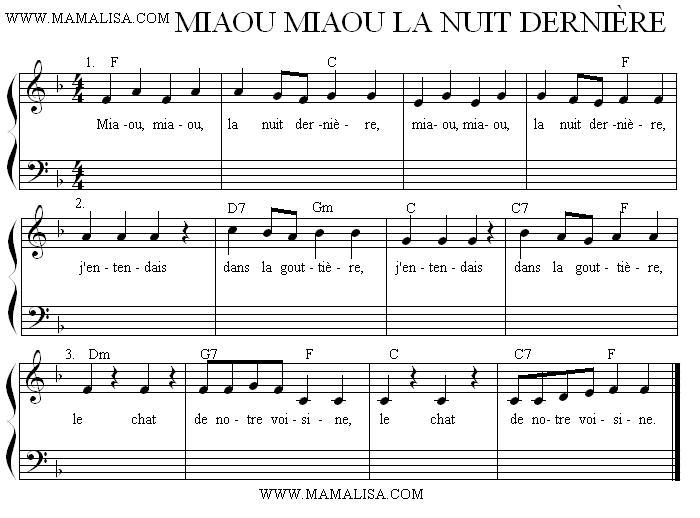 Partition musicale - Miaou, miaou, la nuit dernière