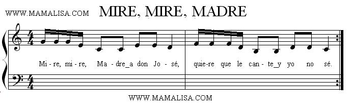 Partition musicale - Mire, mire, Madre