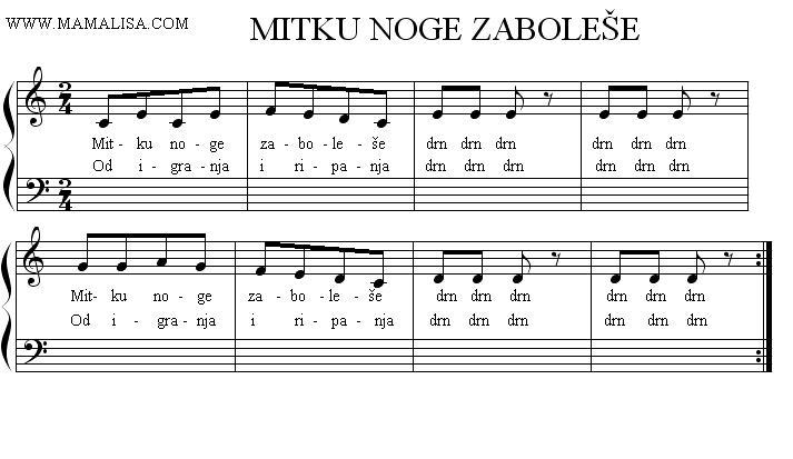 Sheet Music - Mitku noge zaboleše