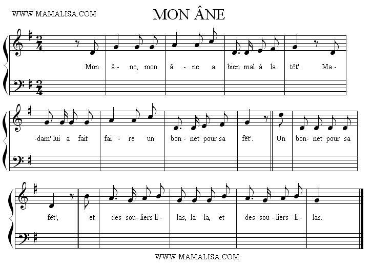 Sheet Music of Mon âne - Chansons enfantines françaises - France - Mama Lisa's World en français: Comptines et chansons pour les enfants du monde entier