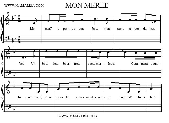 Partition musicale - Mon merle