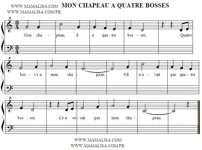 Sheet Music - Mon chapeau a quatre bosses