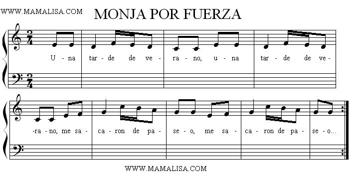 Sheet Music - Monja por fuerza