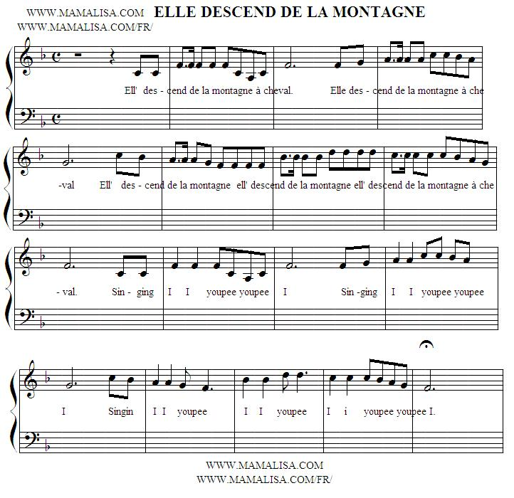 Partition musicale - Elle descend de la montagne