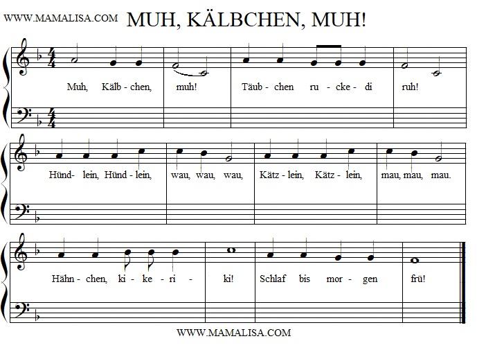 Partition musicale - Muh, Kälbchen, Muh