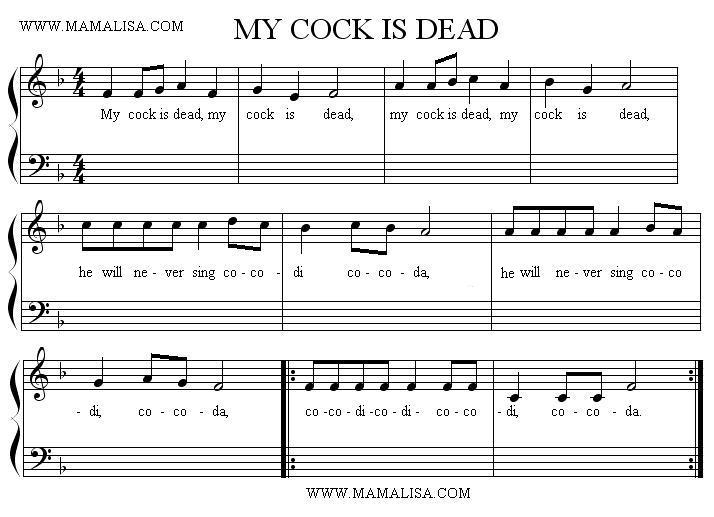 Sheet Music - My Cock Is Dead