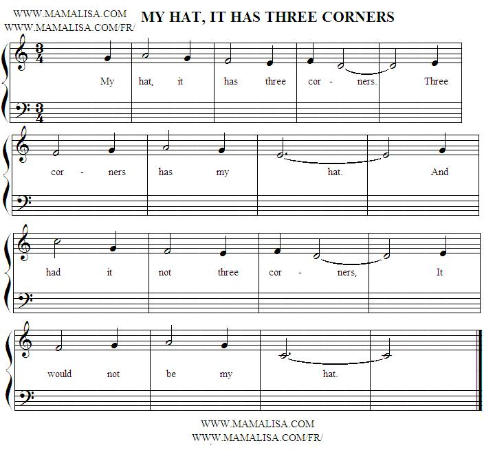 Sheet Music - My Hat, It Has Three Corners