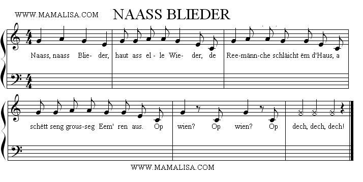 Partition musicale - Naass naass Blieder