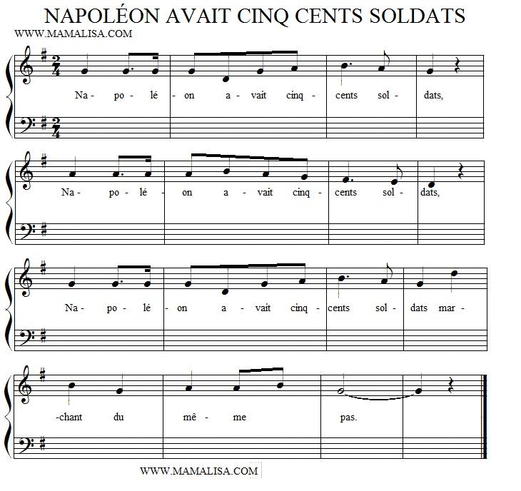 Sheet Music - Napoléon avait cinq cent soldats