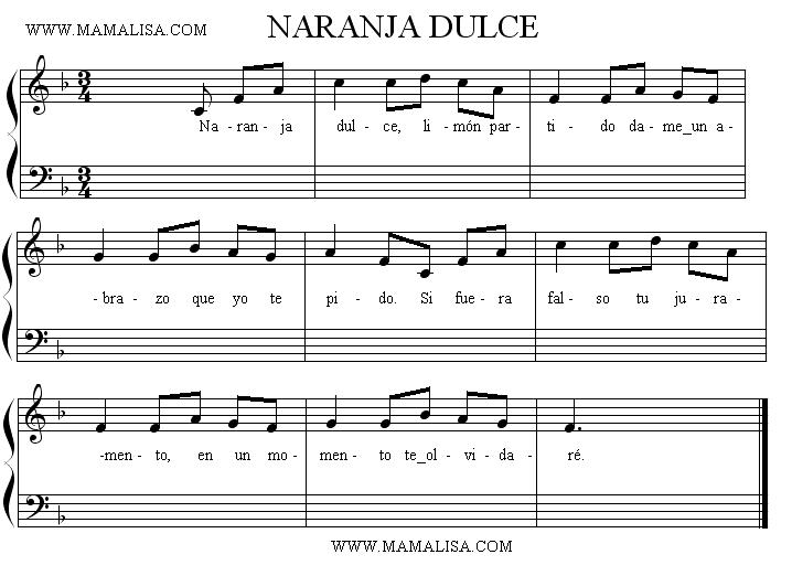 Sheet Music - Naranja dulce